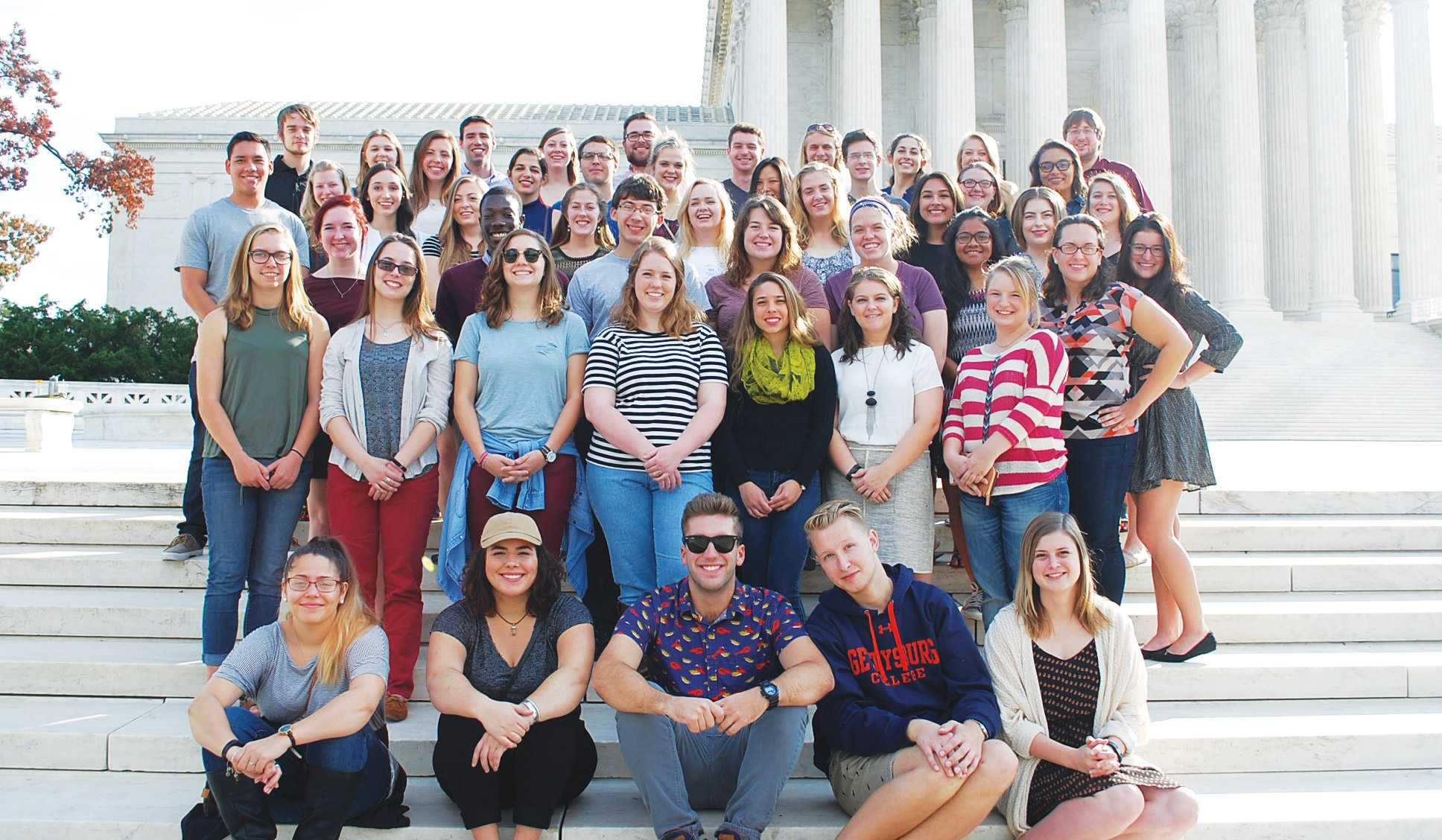 Students from the Lutheran College Washington Consortium pose in Washington D.C.