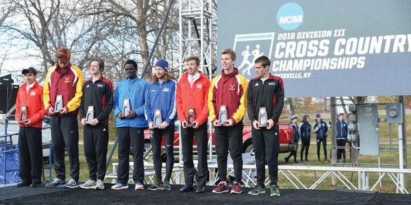 Isaac Jensen ('17) stands with the other All-Americans at the national meet.