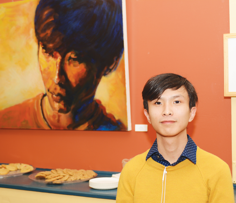 Joschua Setiawan ('18) in front of his piece which was awarded Honorable Mention.