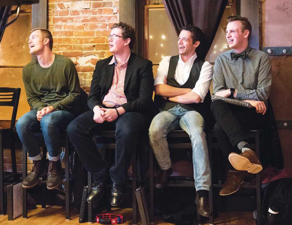 Nick Vande Krol ('18), West Frye ('16), David Pfotenhauer ('15), and James Odegaard ('15) perform at T-Bock's Upstairs.