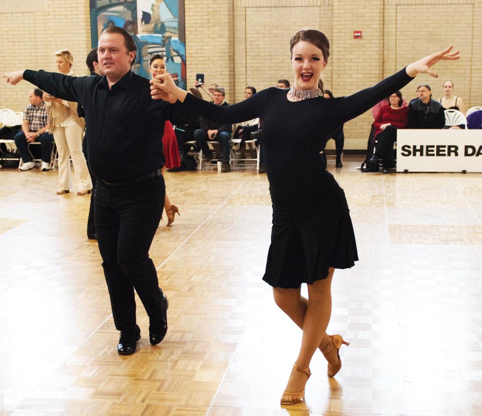 Samuel Nunnikhoren ('17) and Abby Mark ('18) compete at the Dance Fest.