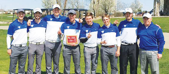 The Luther Golf team poses after winning the Simpson tournament earlier in the season.