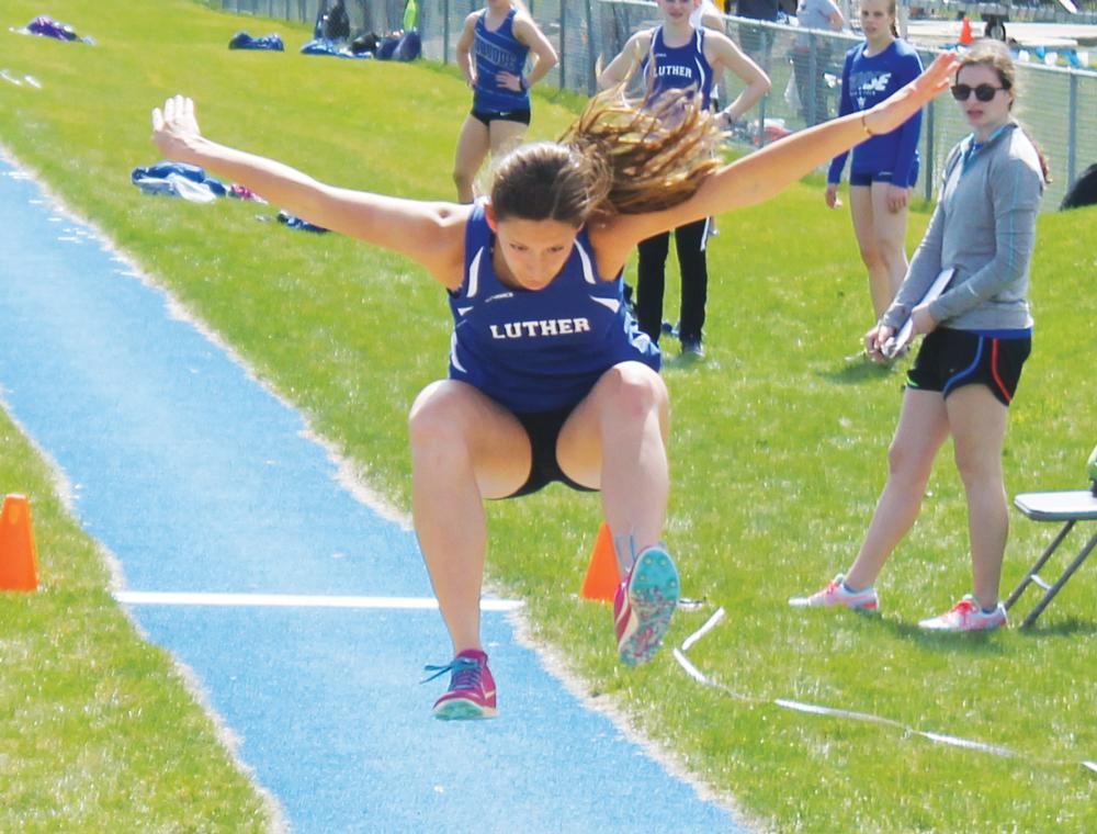 Sarah Holtz ('20) triple jumping.