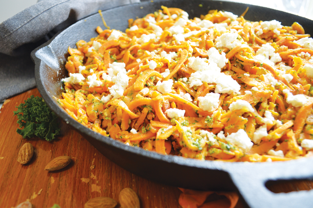 Sweet Potato Noodles with Kale Pesto and Goat Cheese, a recipe from Yumbler.