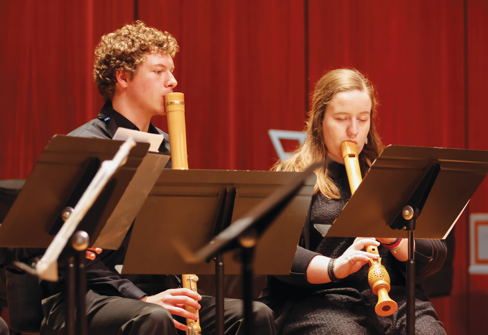 Forrest Stewart ('19) and Olivia Benson ('18) play the recorder.