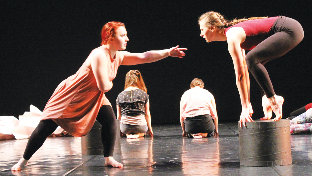 Danica Kafton ('18) and Inga Aleckson ('18) practice during a rehearsal.