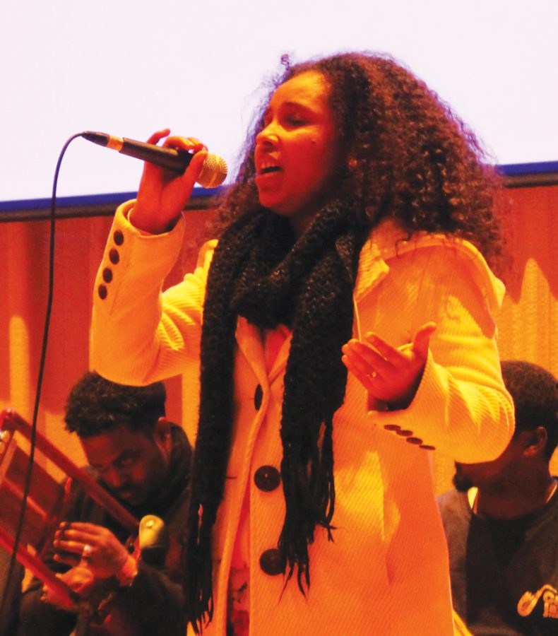 Selamnesh+Zemene+from+Ethiopa+performs+at+the+lecuture+in+the+Center+for+Faith+and+Life+Recital+Hall.