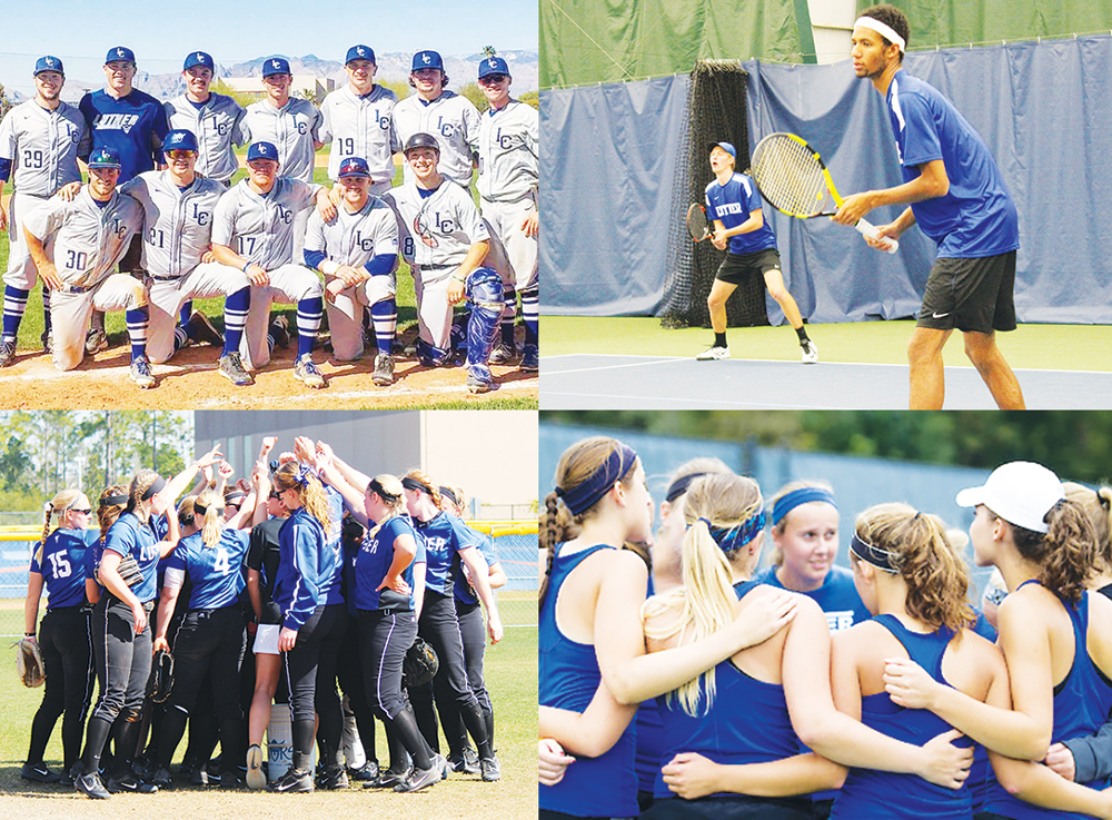 (Clockwise from top left) The baseball team poses before a game in Arizona; Jake Smith ('19) and Kenny Goins ('17) play doubles earlier in the season; Women's tennis team huddles up during a match earlier in the season; Softball team huddles up before a game.