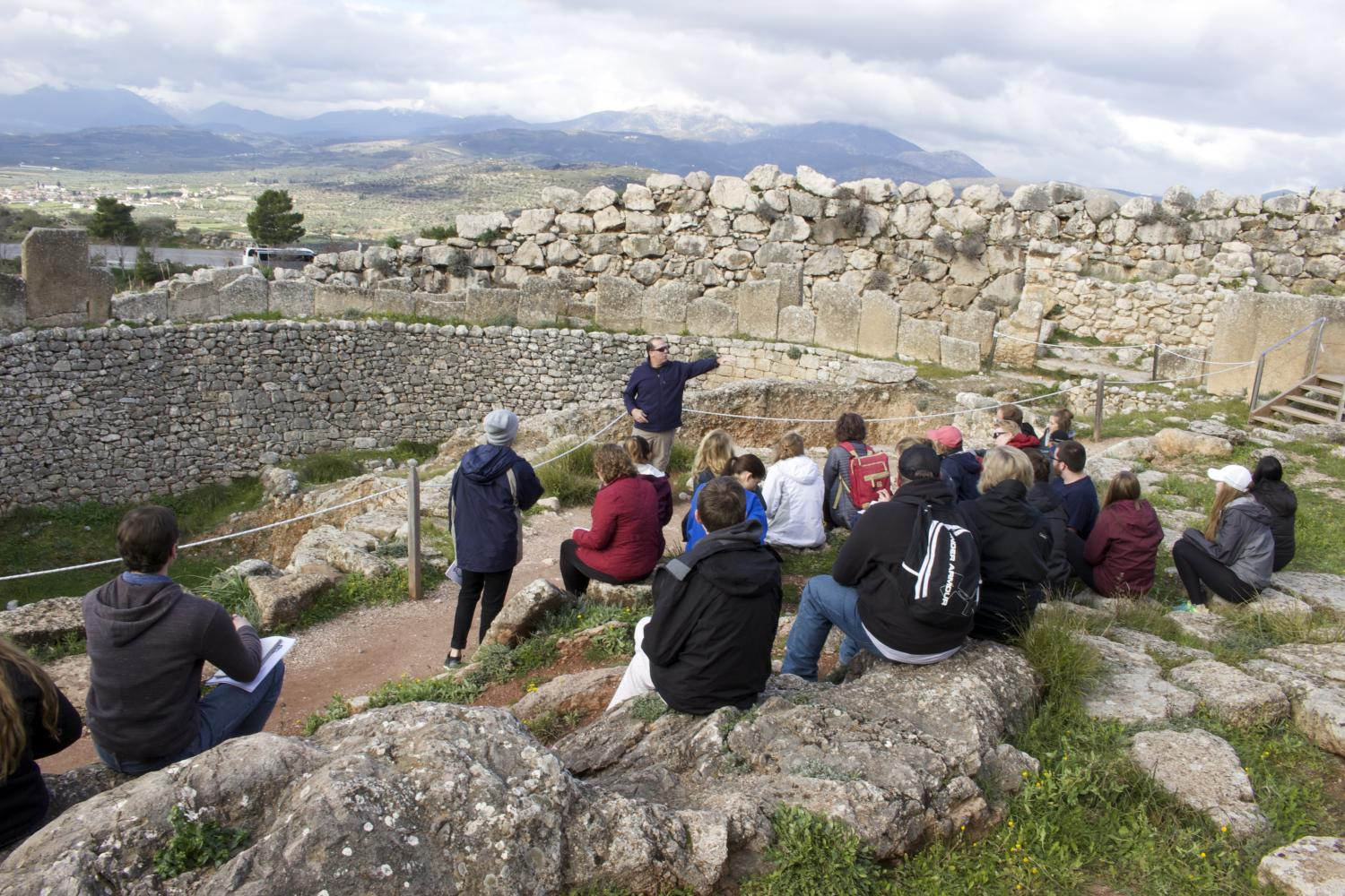 Associate Professor of Classics Dan Davis teaches at an archaeological expedition.