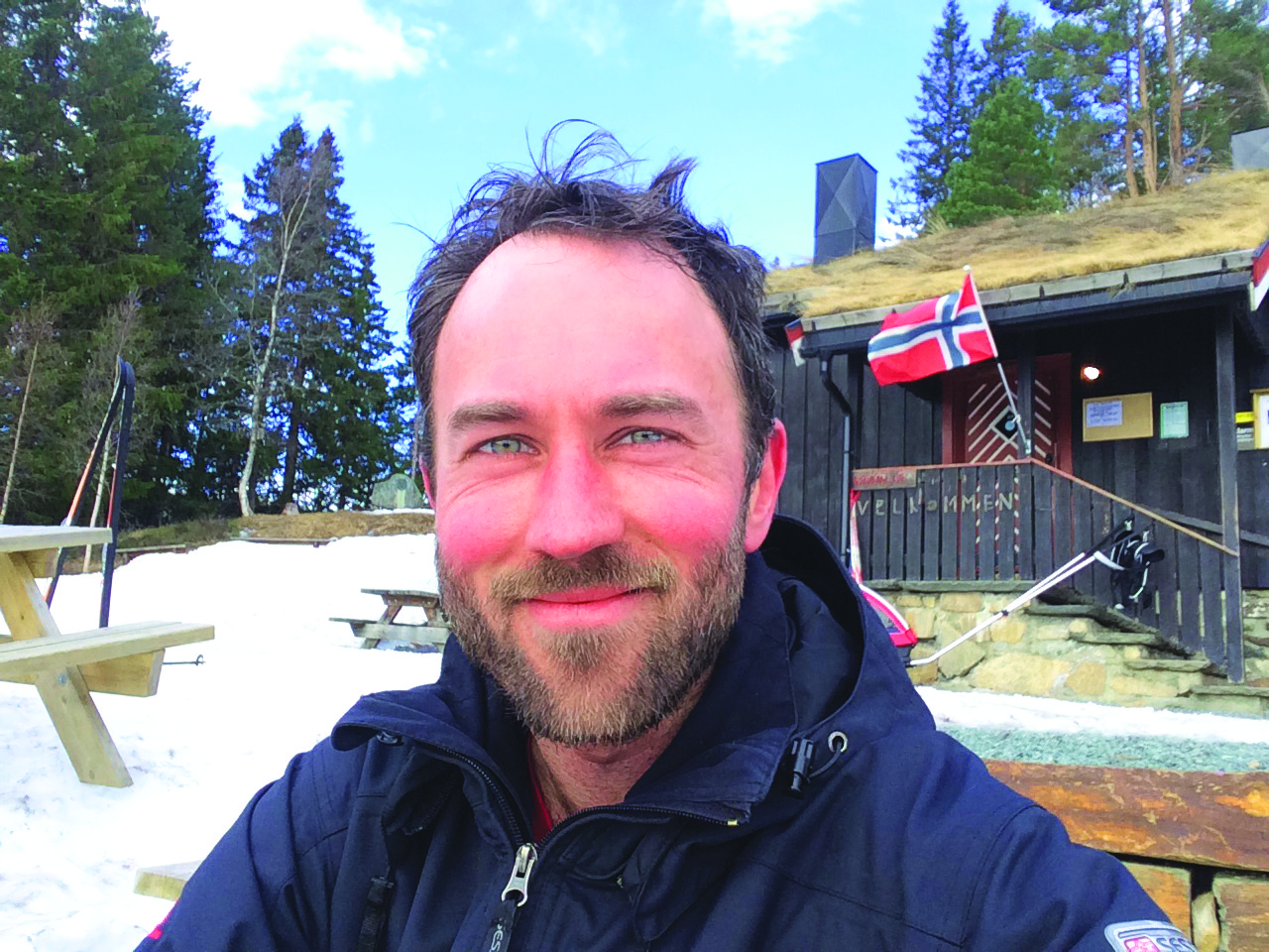 Visiting Assistant Professor of Scandanavian Studies Andrew Meyer ('04) in Trondheim, Norway during a ski tour.