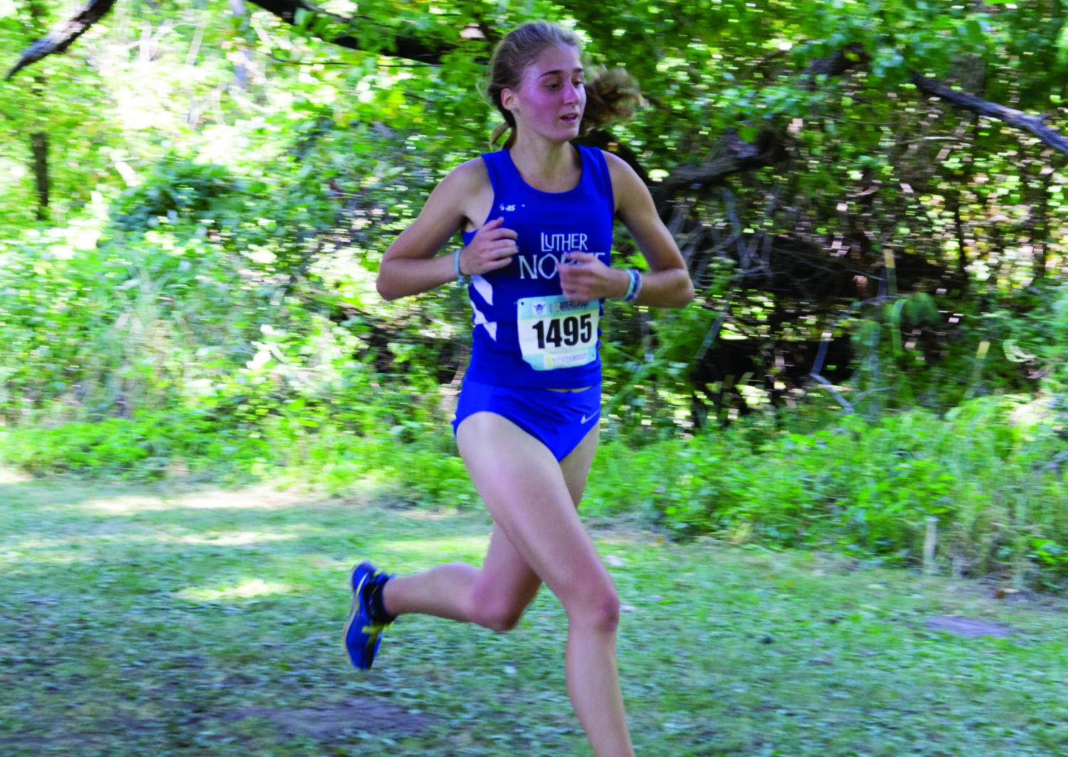 Makenzie Carney  ('18) in action at the Luther All American Meet, earlier this year.