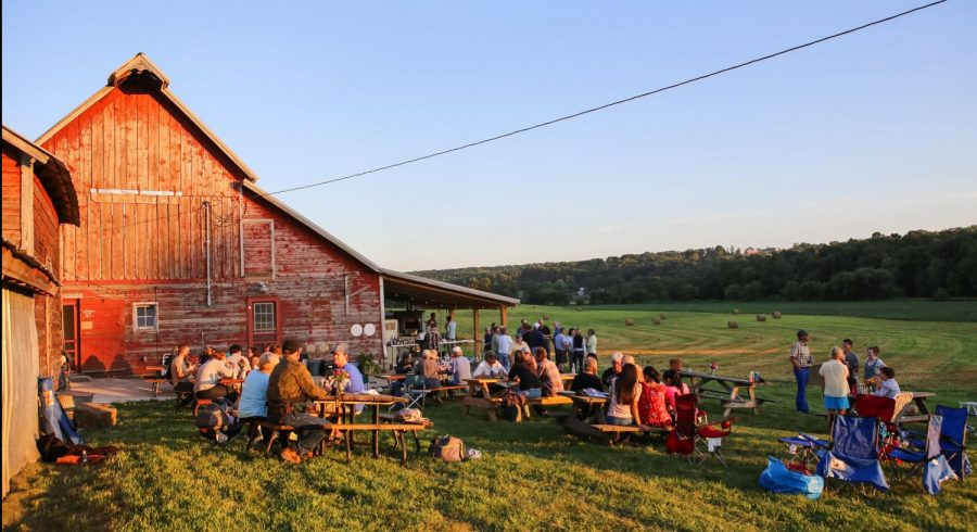 Luna+Valley+Farm+hosts+its+weekly+pizza+night+during+a+beautiful+sunset.