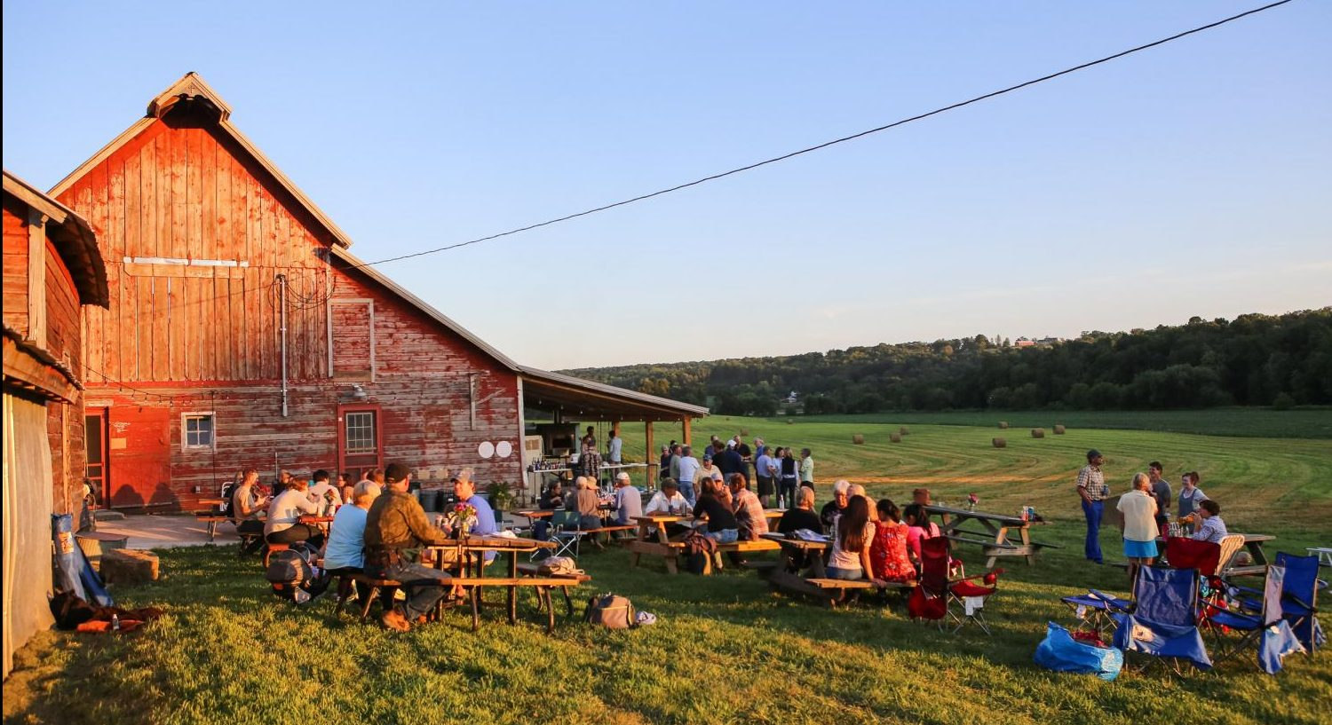 Luna Valley Farm hosts its weekly pizza night during a beautiful sunset.