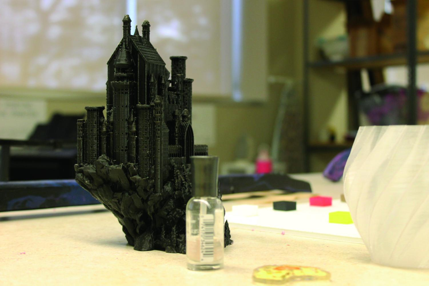 A 3D printed model of Harry Potter's Hogwarts in the Luther College makerspace.