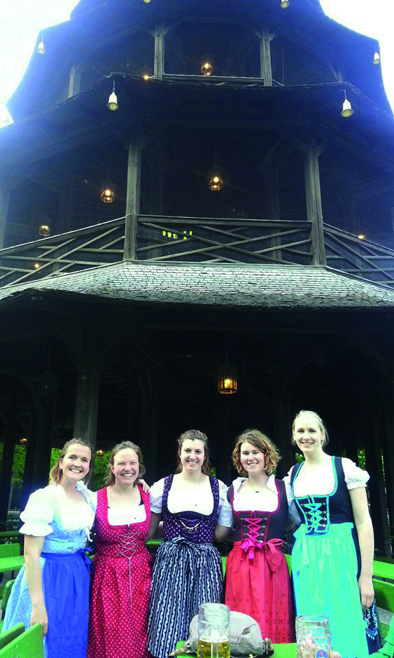 Greta Schmitt ('17), Julia Curtis ('17), Delaney Schurer ('18), Logan Ardovino ('17), Laura Kalsow ('17) at a beer garden in Munich, Germany.