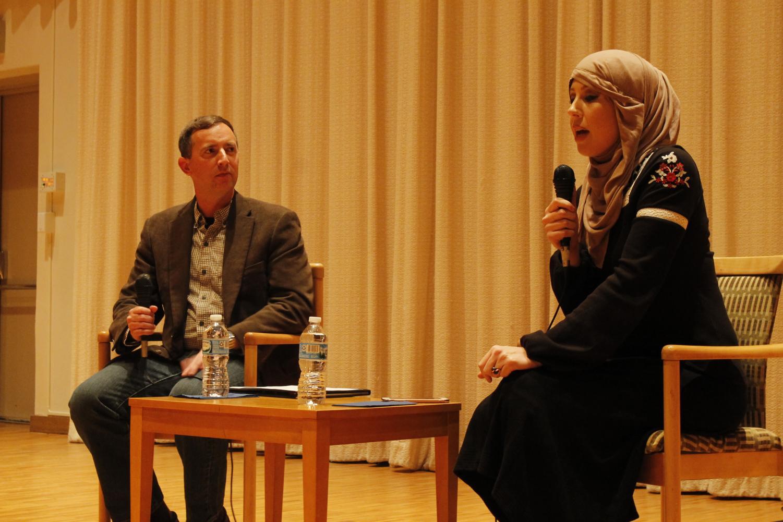 Associate Professor of Religion Todd Green directing a discussion with Regina Mustafa.