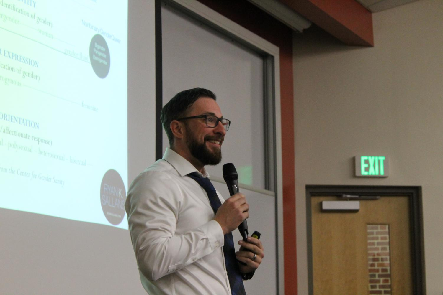 Activist and Author Ryan Sallans during his lecture on transitioning.