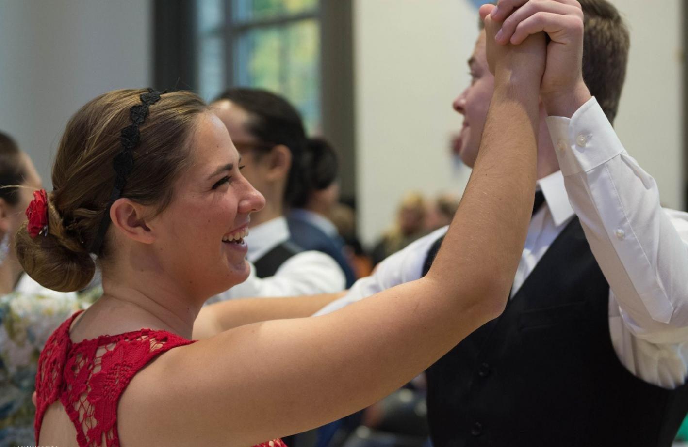 President of Ballroom and Swing Team Kjerstin Nelson ('18) dances during the social dance.