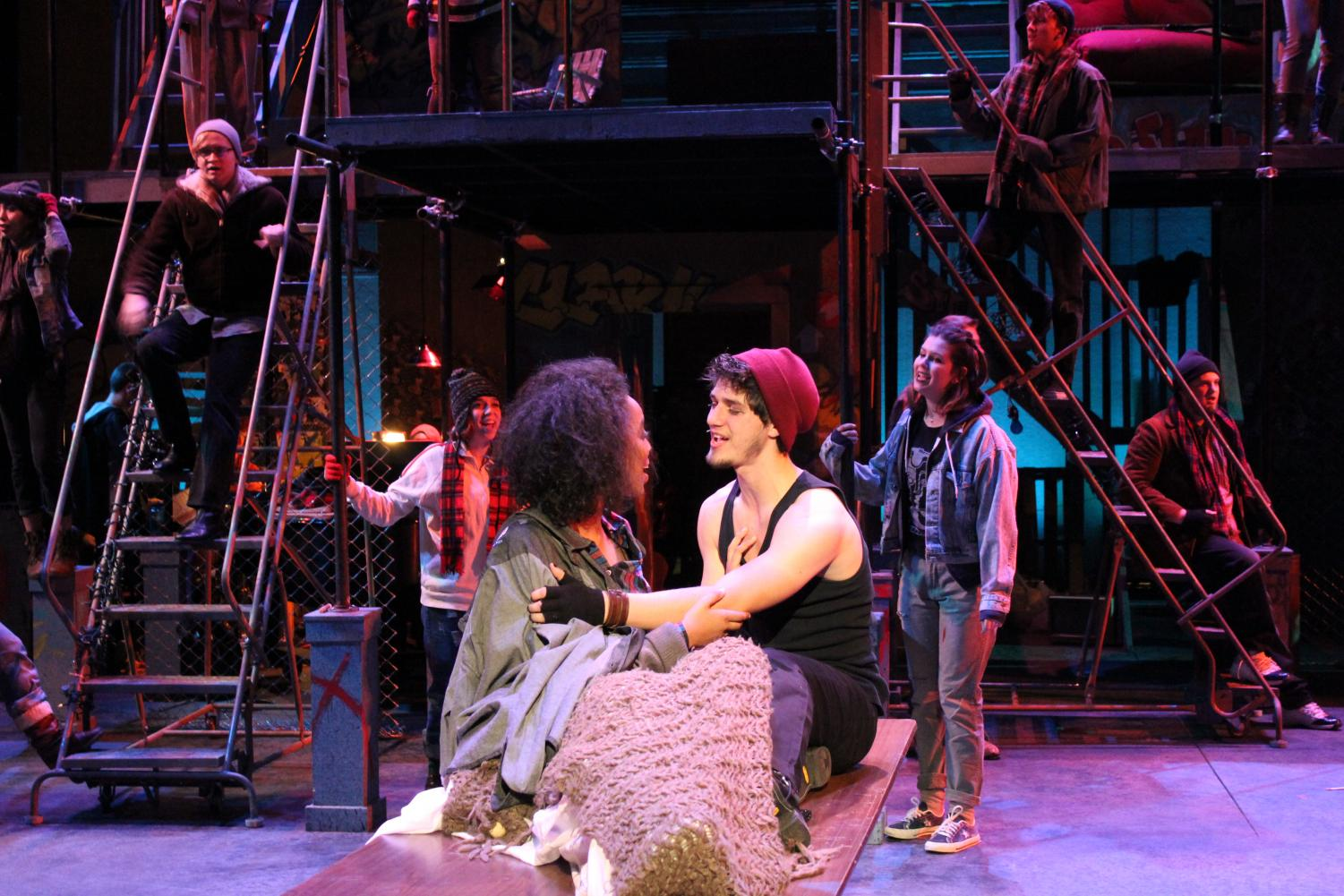 "Tamar Tedla ('20) and Parker Fretheim ('19) perform the closing song in ""RENT"" together as Mimi Marquez and Roger Davis."