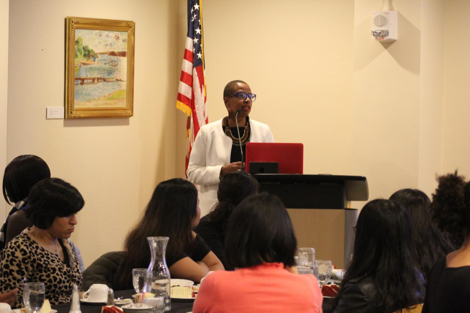 Interim Dean for Institutional Equity and Inclusion Lisa  Scott delivers a speech during the Women of Color Reception Dinner on Oct. 25.