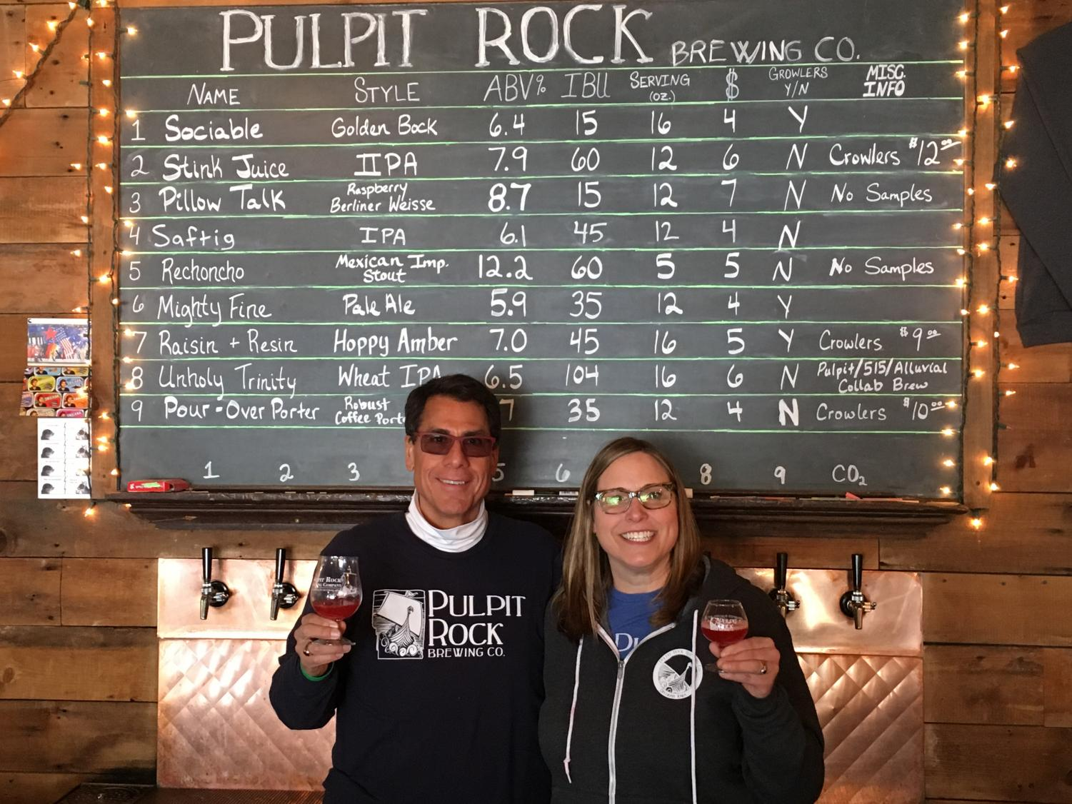 Pete Espinosa ('81) founded Pulpit Rock Brewing Company with Jodi Tollefson Bjerke ('94).