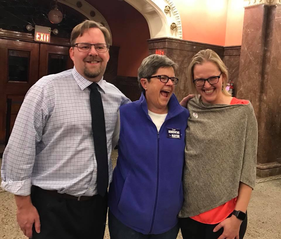 Ross Hadley ('95), Lorraine Borowski ('70), and Johanna Bergan ('08) celebrate after election day.