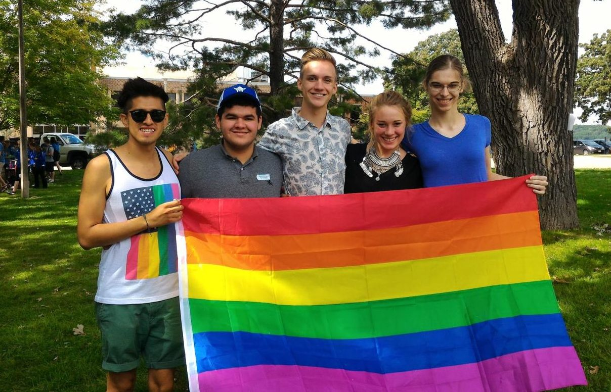 Members of PRIDE Pablo Alonso ('17), Filiberto Lopez ('19), Wyatt Anians ('19), Nora Haugen-Wente ('19) and Ashleigh Bunkofske ('18).