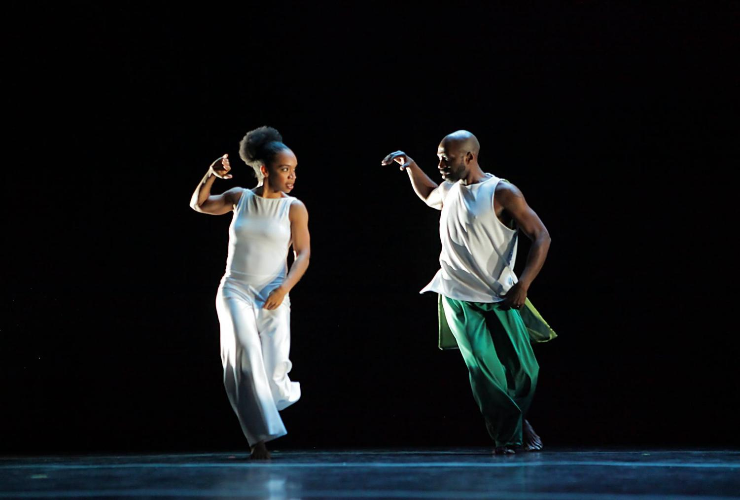 Dancers Annique Roberts and Kevin Brown perform a duet together.