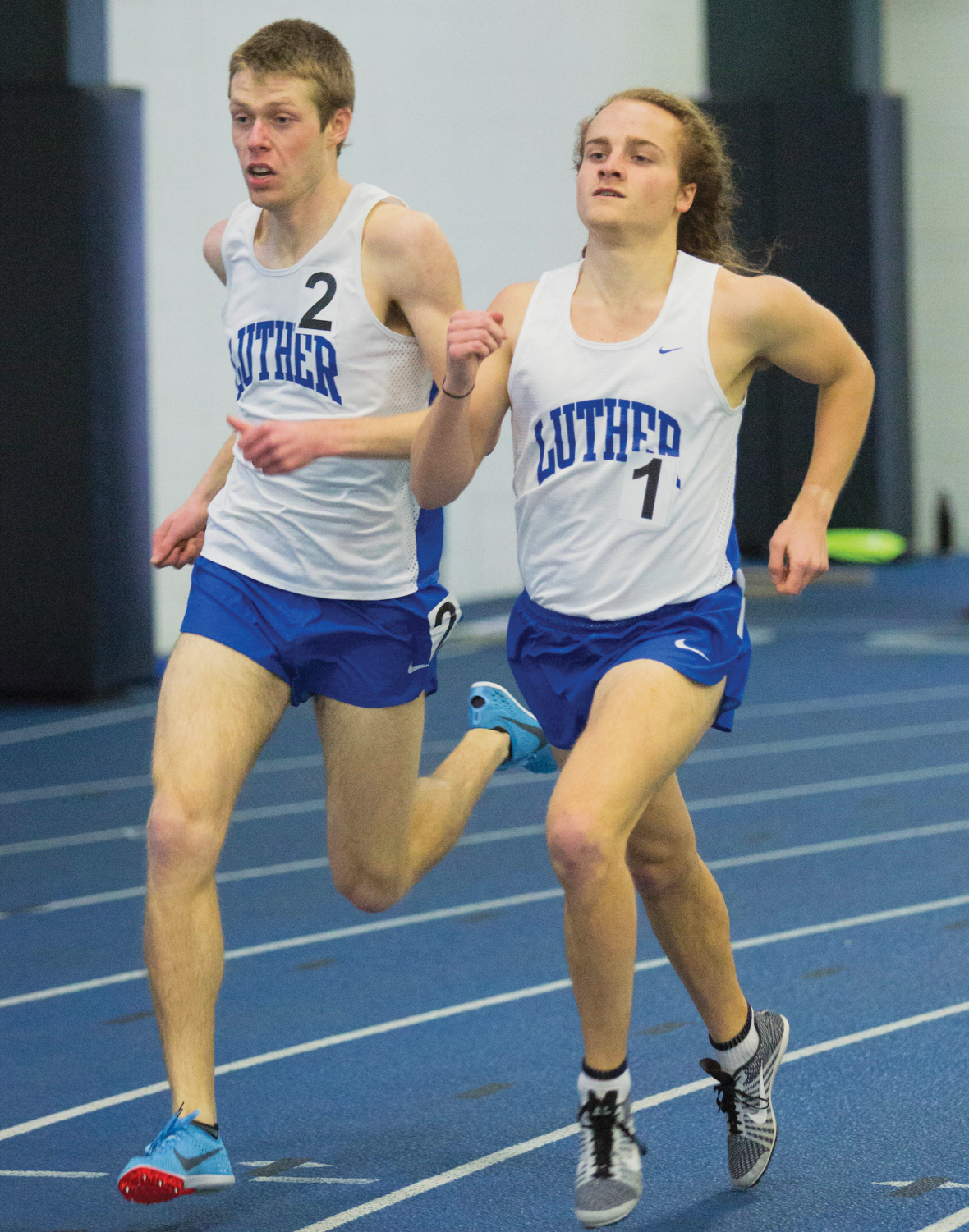 Kyle Gilberg ('19) and Collin Kern ('20) sprint to the finish line during a 1000-meter race earlier in the year.
