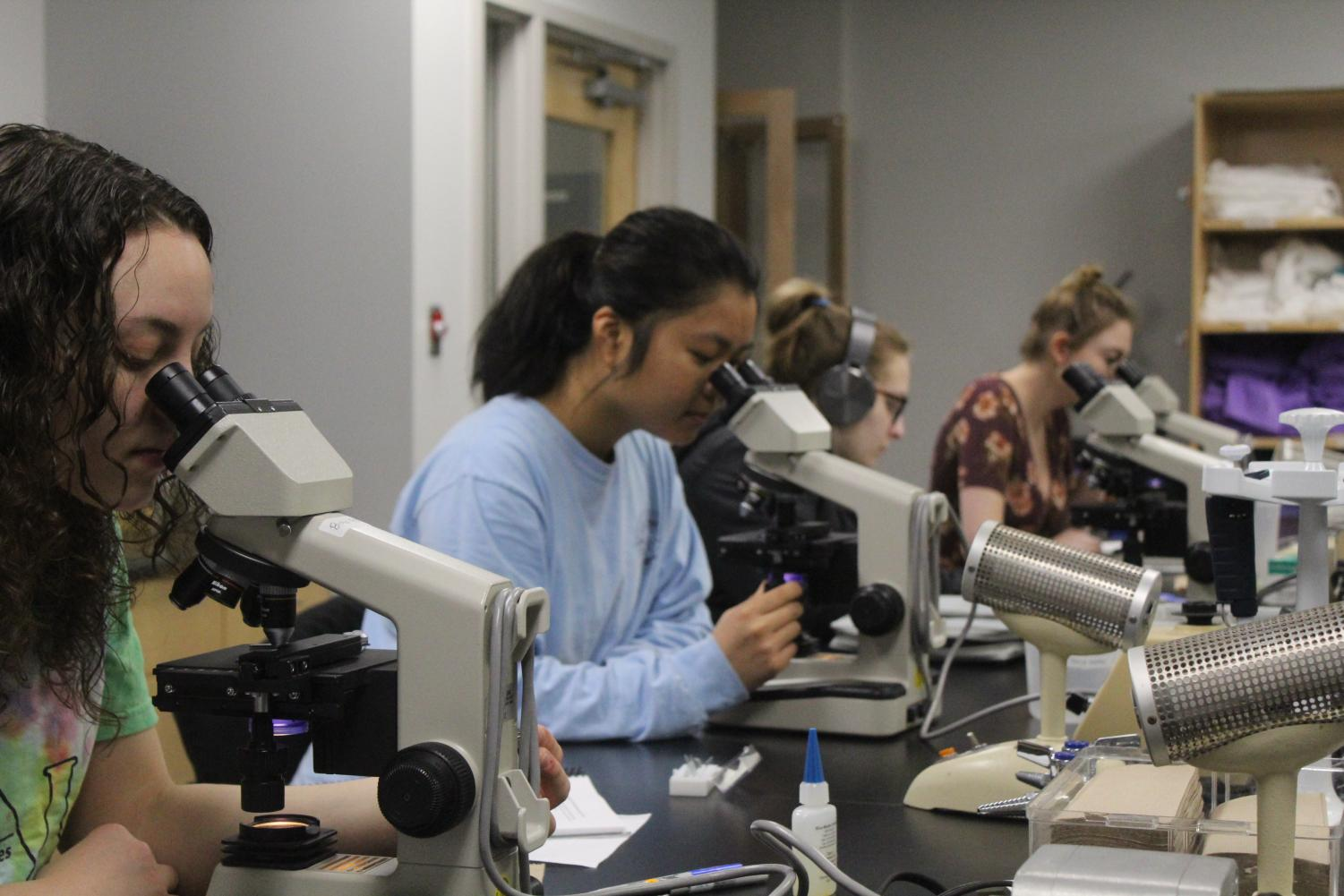 Emily Fuller ('19), Linh Luong ('20),  Jenna Reimann ('20), and Cosette Schneider ('20) work with microscopes.