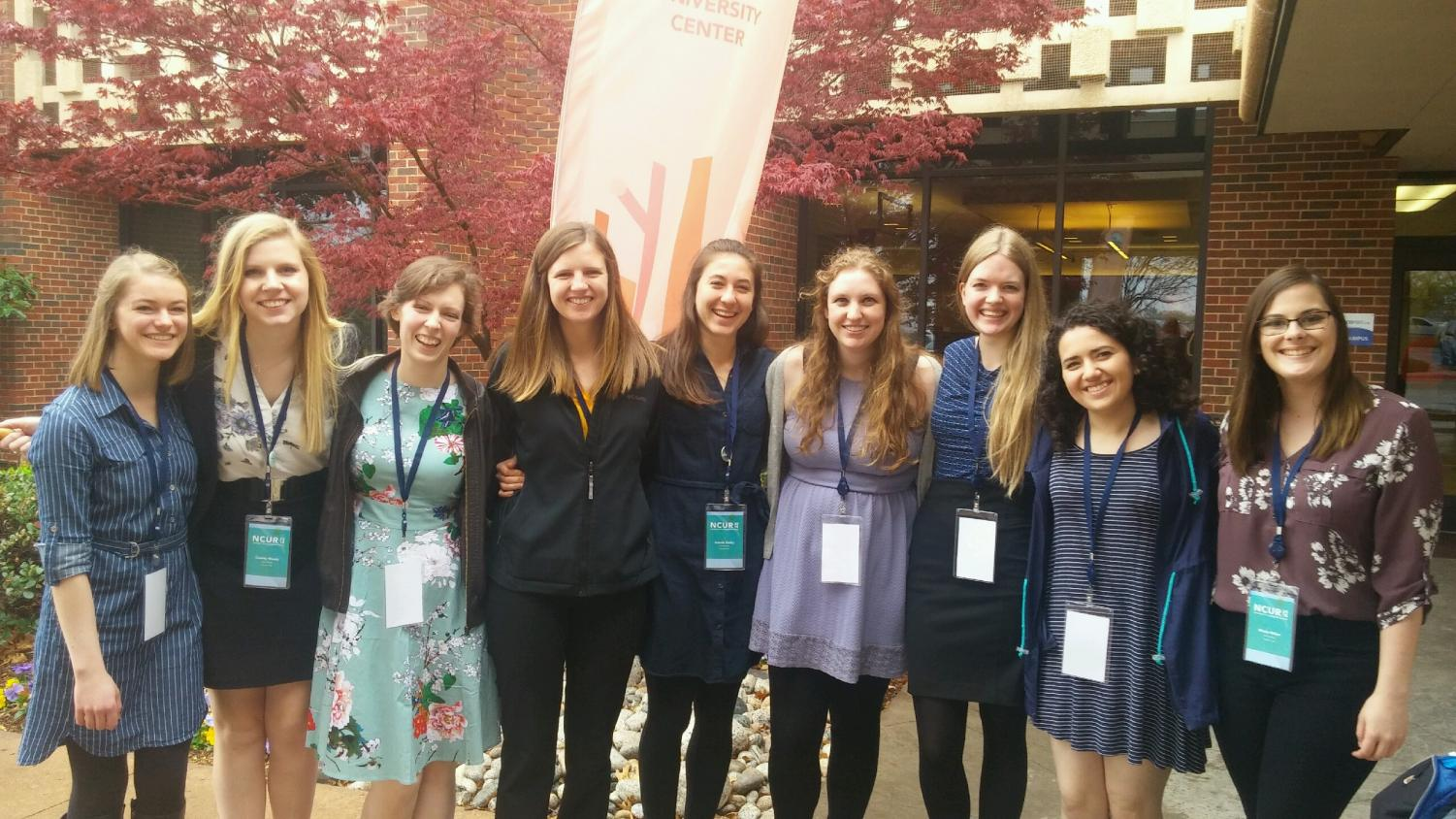 Marta Williams ('19), Cassidy Woods ('18), Lily Kime ('19), Kelly Kennedy ('18), Ananda Easley ('19), Katie Patyk ('18), Kaitlyn Buls ('19), Laila Sahir ('18), and Nicole Weber ('18) attend the National Conference on Undergraduate Research in Oklahoma.