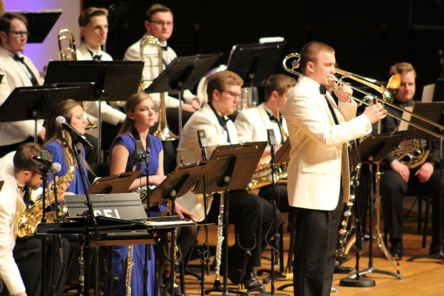 Jackson Churchill ('20) plays a trombone solo during Jazz Orchestra's Homecoming Concert.