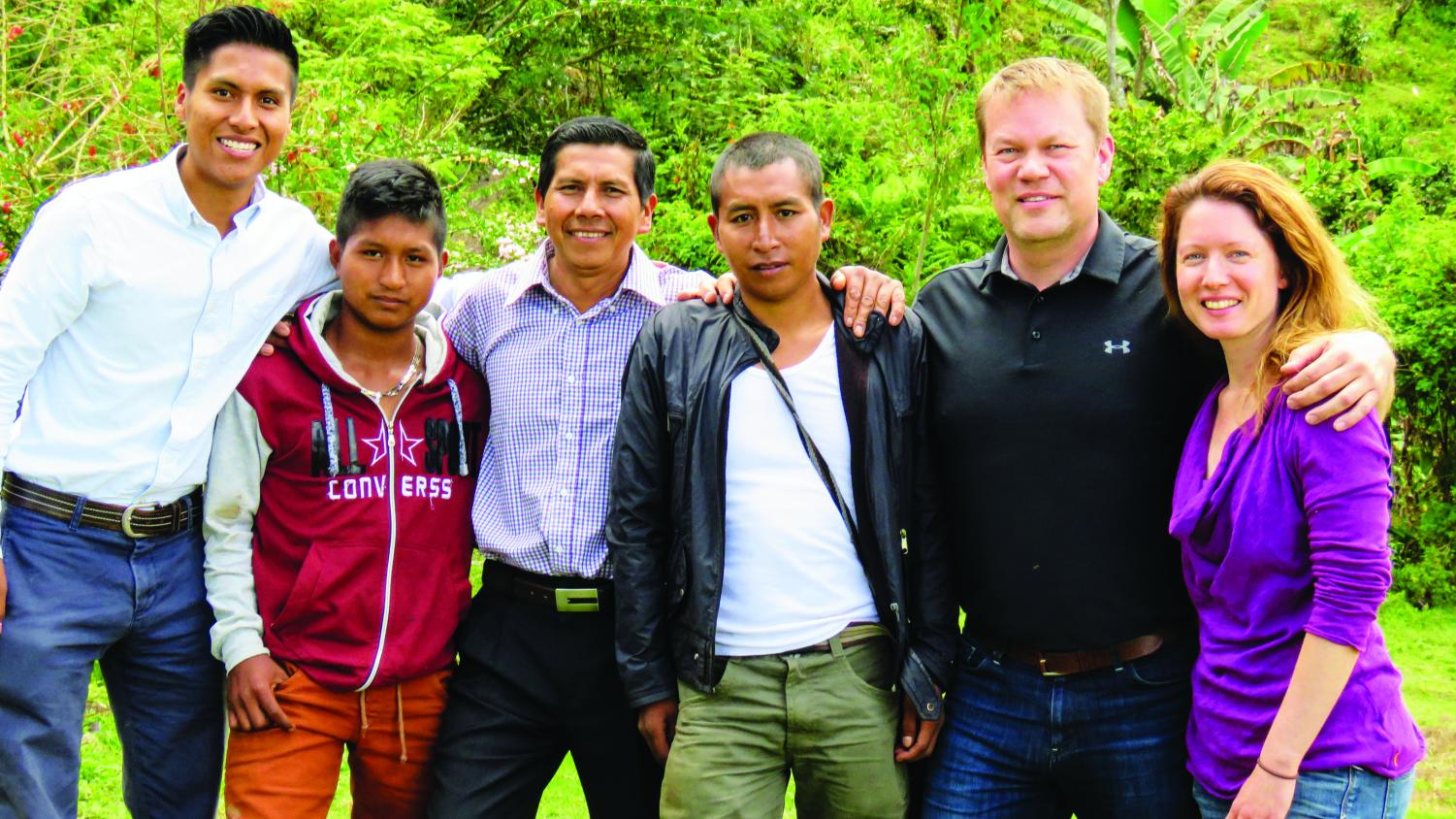 Left to right: Ervin Liz ('17), his neighbor Manuel Andela, Ervin Liz's father Isidro Liz,  Colombian Coffee Connection's main farmer Misael Muse, Jon Baklund, and Tara Baklund.