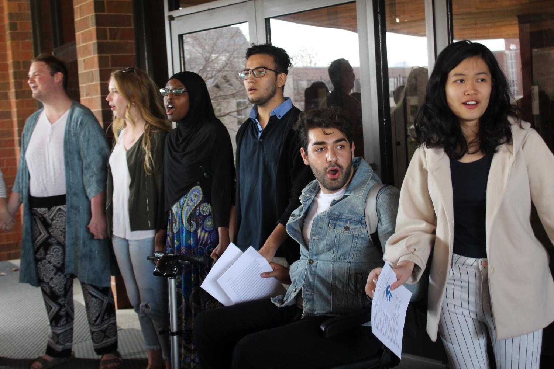 Matthew Espey ('19), Rebecka Green ('19), Asha Aden ('20), Juan Pablo Velásquez Quiroga ('21), Mikayel Simonyan ('20), and Faye Lee ('20) sing at the CFL prayer vigil.