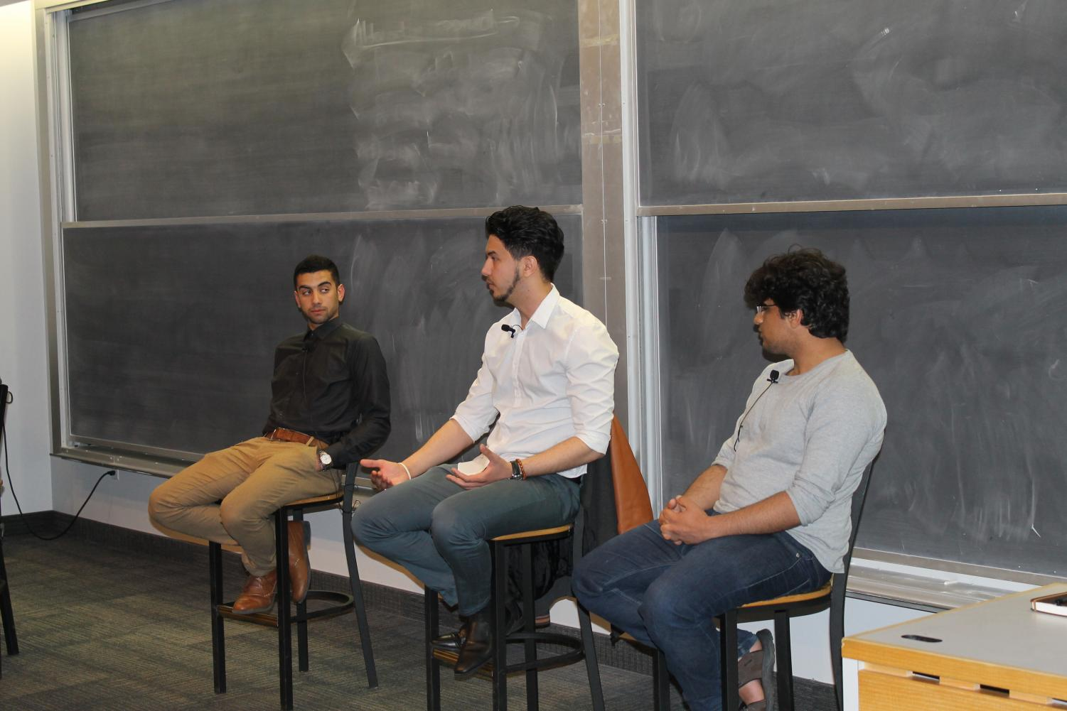 Jam Riyan Hamza ('21), Belal Krayem ('18), and Mohammed Aljadart ('19) share stories about their childhoods in conflict areas.