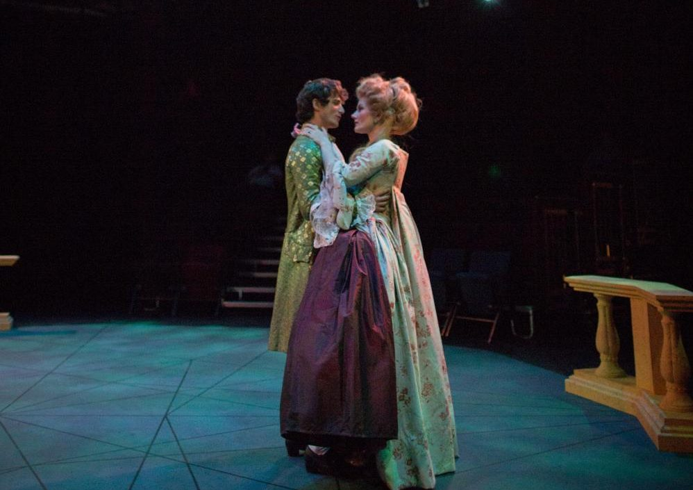 "Parker Fretheim ('19) and Morgan Fanning ('20) embrace in ""Marie Antoinette."""
