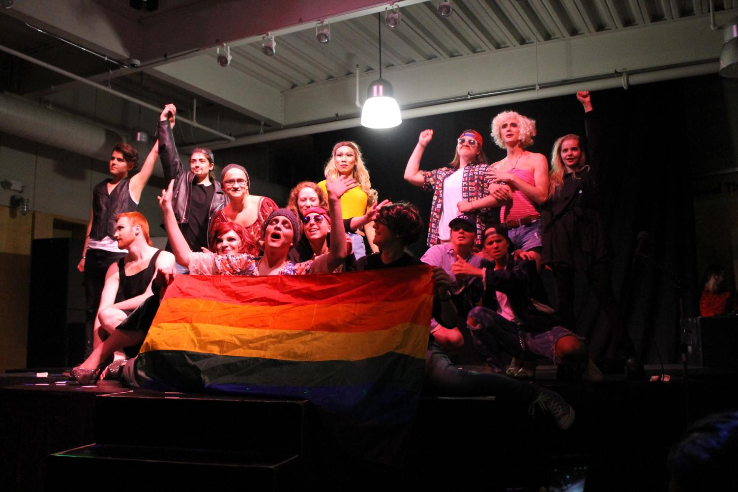 All performers in the second annual Luther Drag Show joined Karl Nycklemoe ('18) onstage at the end of his routine.