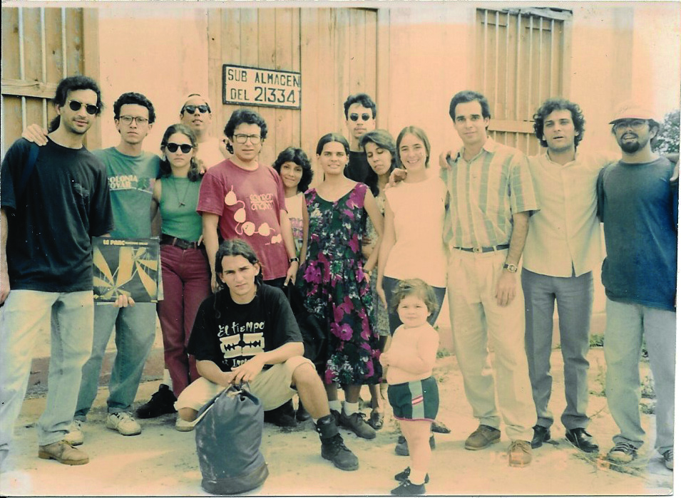 Alonso Estenoz (on the righthand side in the striped top) appears with his college friends during a colloquium they organized in Matanzas, Cuba, in March of 1995.