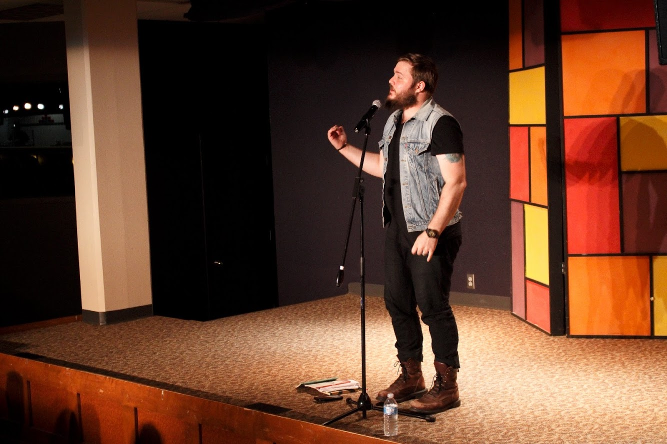 Spoken word artist Neil Hilborn performed 11 of his poems for a crowd of 150 people in Marty's on  Friday, Sept. 7.