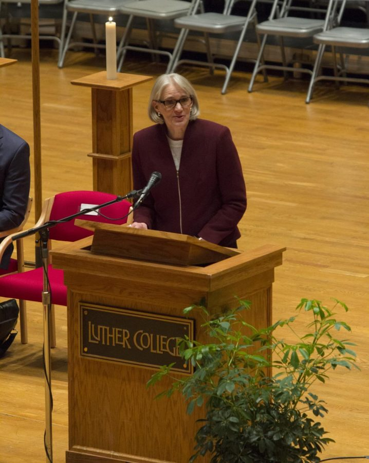 President Carlson speaks at the plenary address for the 500th anniversary of the Reformation.