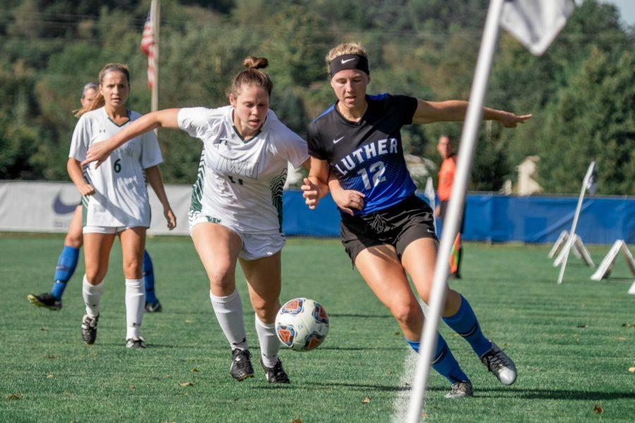 Marta Springer ('19) sports Nike gear at the women's soccer match against Illinois Wesleyan University.