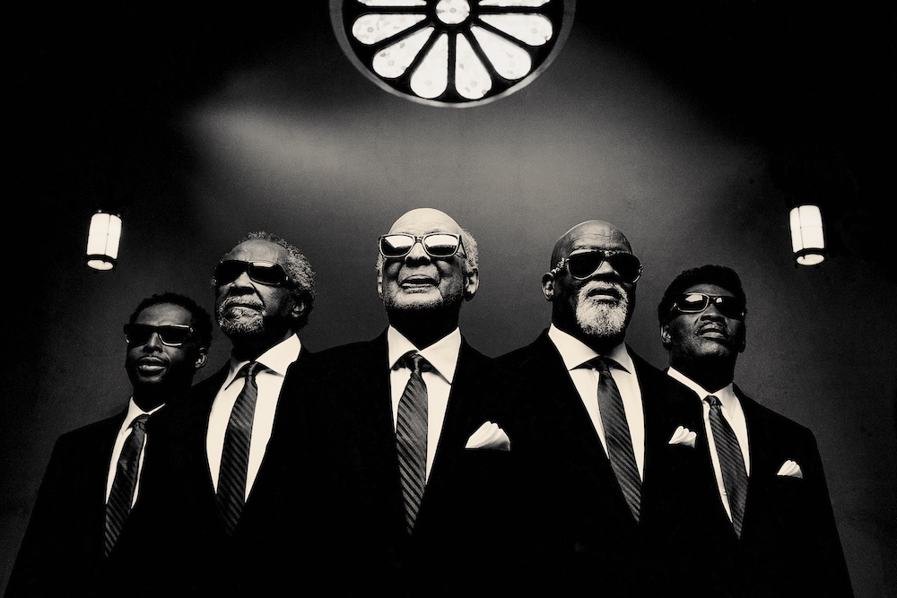 [Left to Right] Joey Williams, Benjamin Moore, Jimmy Carter, Paul Beasley, and Eric McKinnie are all members of the musical group The Blind Boys of Alabama. This group was founded in 1939 at the Alabama Institute for the Negro Blind where the founding members met as children.