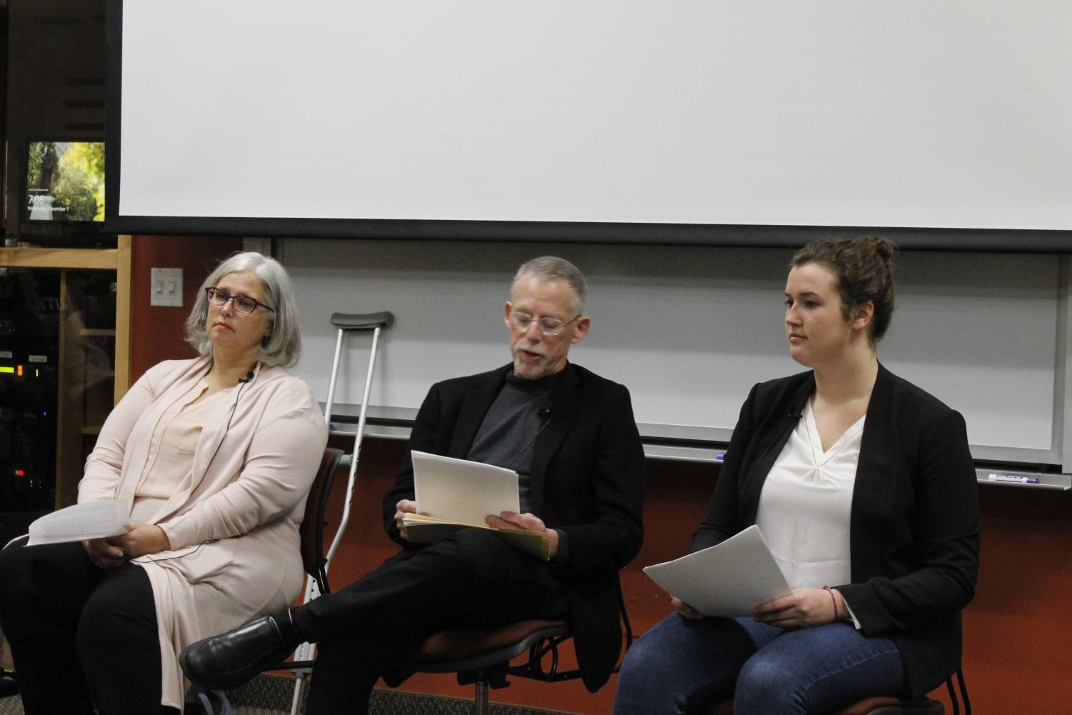 Panelists Madeleine Ross ('20), Professor Emeritus Paul Gardner, and Associate Professor of Nursing Jayme Nelson discussed their personal journeys with mental health.
