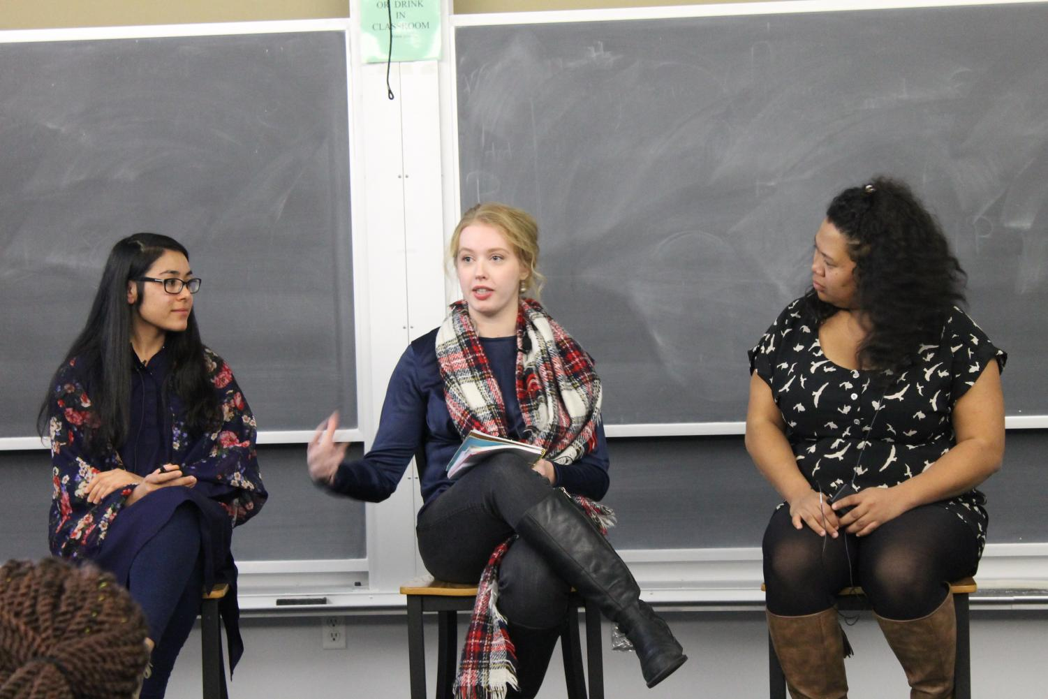 [LEFT TO RIGHT] Anila Bano ('20), Rebecka Green ('20), and Sthela Gun Holly Hanitrinirina ('19) participate in a rountable discussion.