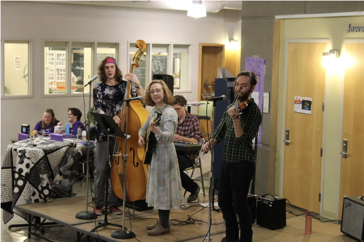 Dunning Strings, which consists of Colin Cosgrove ('20), Brooke Prohaska ('21), Forrest Stewart ('19), and Lucas Ruge-Jones ('19), performed at the Luther College Dance Marathon Benefit Concert on Friday, March 1.