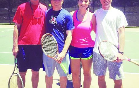 Hailey Johnson ('16) enjoys playing tennis with her father, Craig Johnson, and two older brothers, Erik and Dan Johnson.
