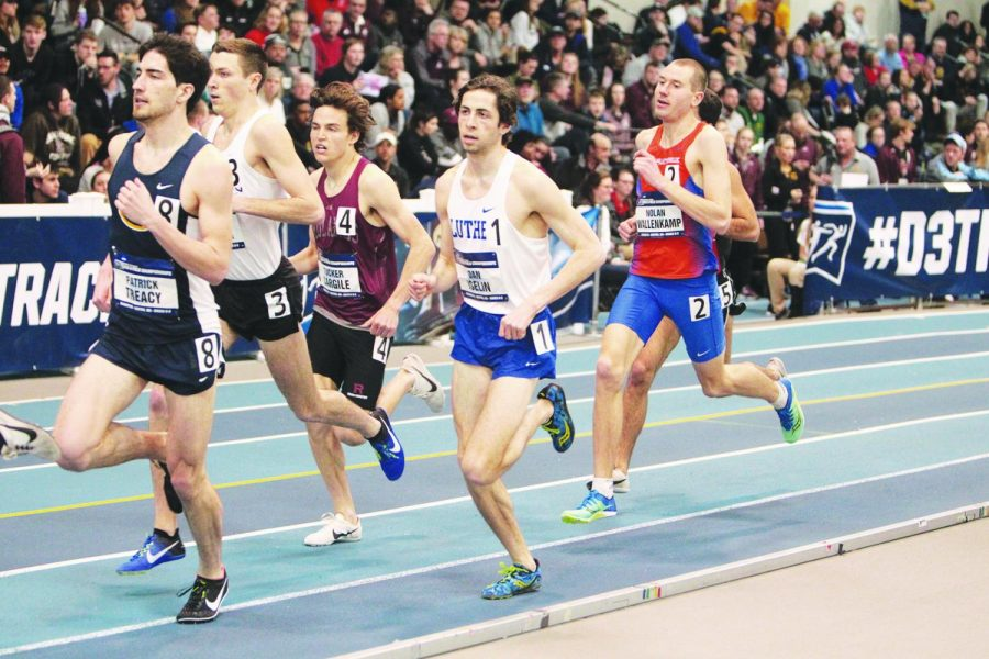 Dan Iselin ('21) on the train in the NCAA III mile preliminaries on Friday, March 8.