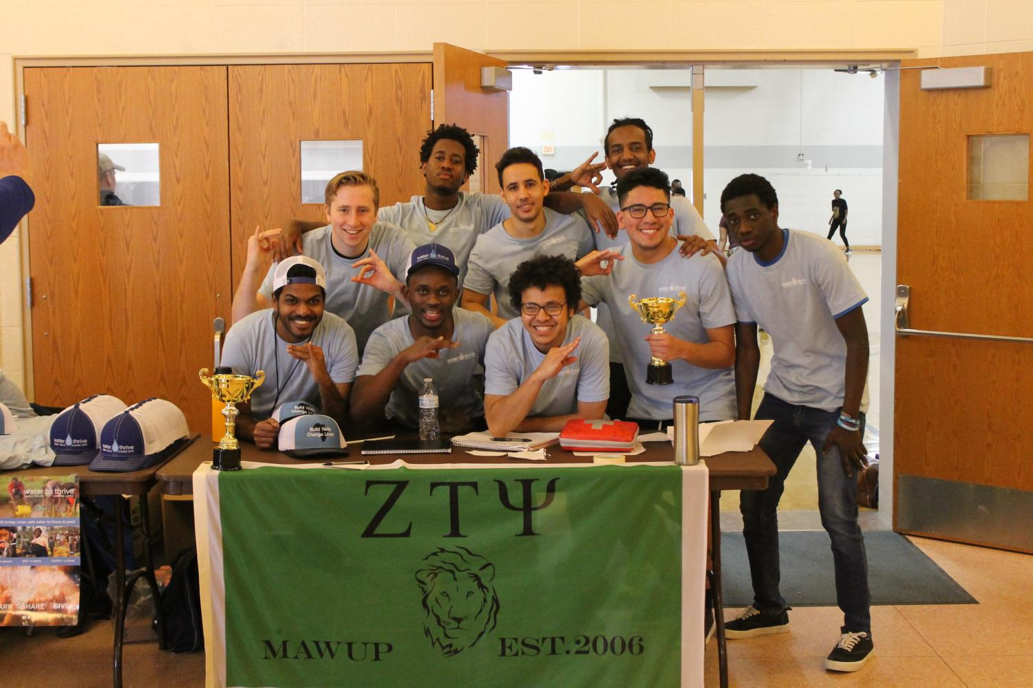 Zeta Tau Psi brothers opening the fundraiser soccer tournament for Water to Thrive.