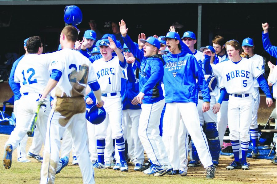 The+Luther+Baseball+team+celebrates+after+at+a+home+game+versus+Buena+Vista+University+on+March+23%2C+2018.