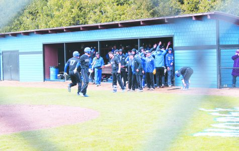 Luther's Baseball Team cheers in players after their first win against Central College on Saturday, April 13.